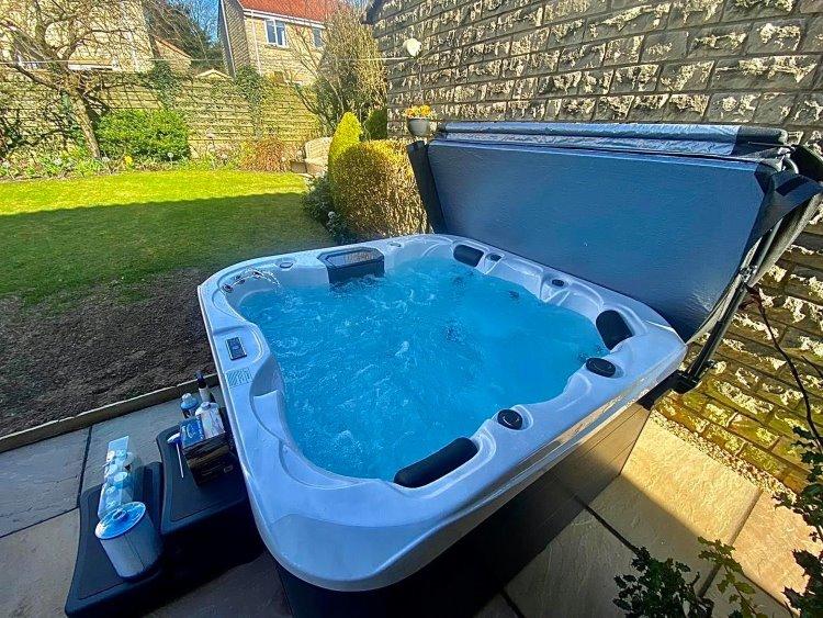 hot tub in a garden