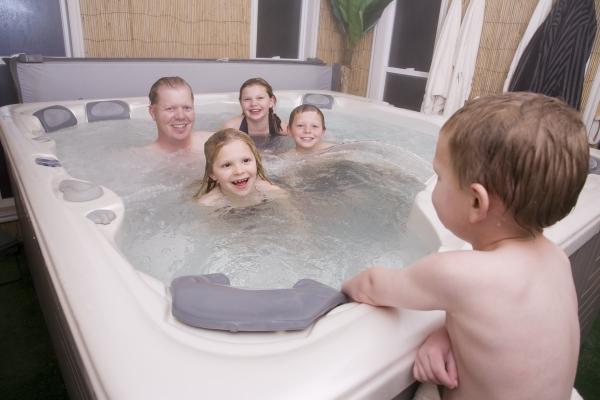 children in hot tub